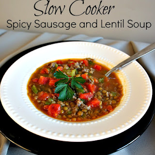 Recipe for Slow Cooker (crock pot) Spicy Sausage and Lentil Soup.