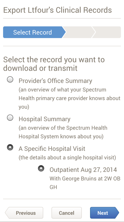 Spectrum Health MyHealth- screenshot
