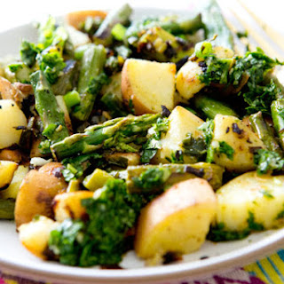 ASPARAGUS AND SWEET POTATO HASH WITH CHIMICHURRI