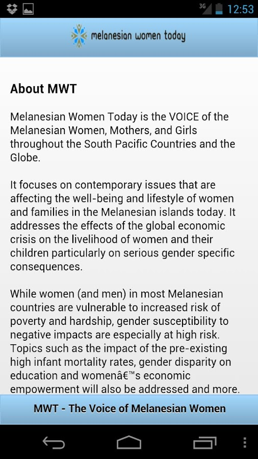 Melanesian Women Today - screenshot