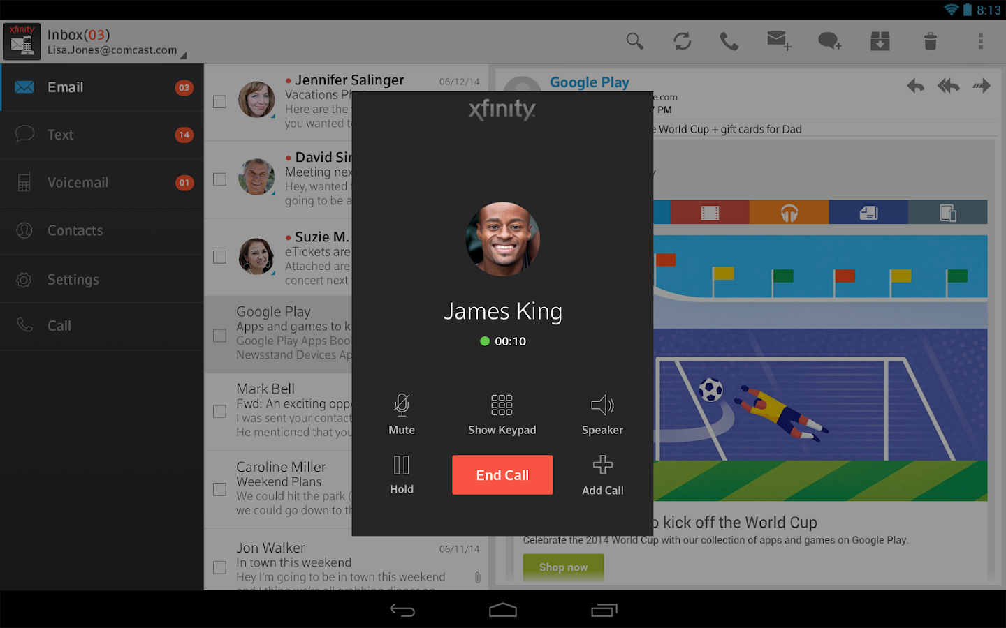 XFINITY Connect- screenshot