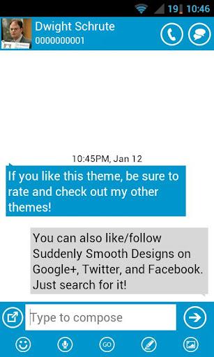 GO SMS-Blue Windows UI Metro