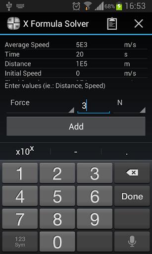 X Formula Solver Demo: Physics