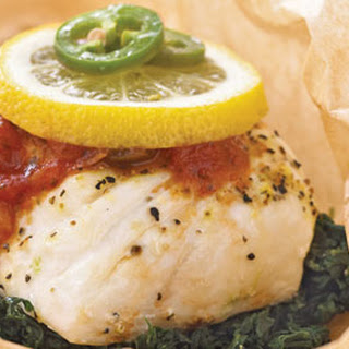 Halibut-and-Spinach Packets.