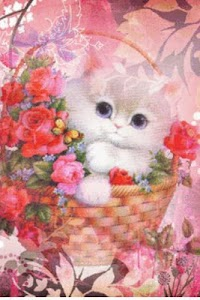 Cat In Floral Basket Live Wall screenshot 0