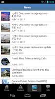 Screenshot of Hydro One Mobile