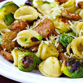 Pesto Pasta with Chicken Sausage & Roasted Brussels Sprouts.