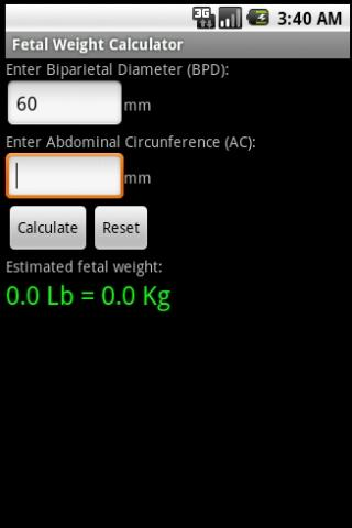 Fetal Weight Calculator- screenshot