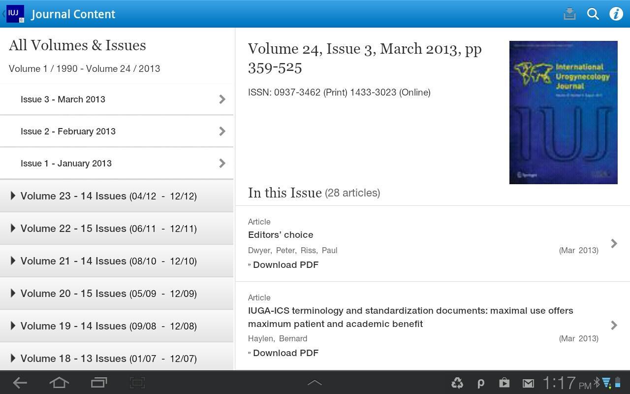 Int'l Urogynecology Journal- screenshot