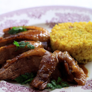 Peking Duck with Bulgur and Dried Fruits.