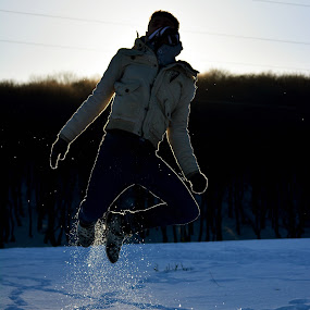 Freedom by Dandu Sorin - People Portraits of Men ( winter, freedom, jumping, snow, sun, portrait )