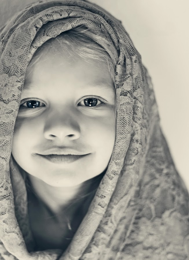My Sweet Daughter by Megan Reed - Black & White Portraits & People ( lace, sweet, black and white, daughter, uplighting,  )