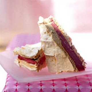 Raspberry Sorbet and Meringue Sandwiches