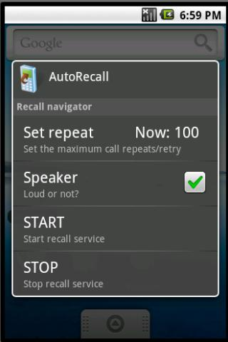 AutoRecall, auto dial TICKET - screenshot