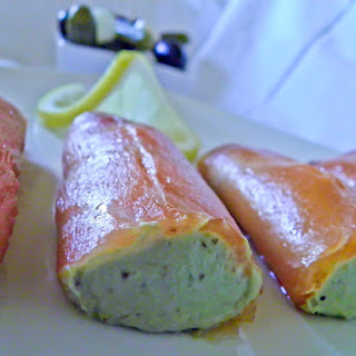 Smoked Salmon Filled with Guacamole.
