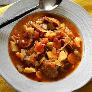 Easy Paleo Sausage & Cabbage Soup.