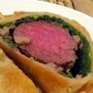 Venison Wellington with dauphinoise potatoes