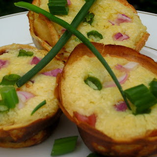 Scallion, Red Onion Mini Souffles in Red Pepper, Buttermilk Crepes.