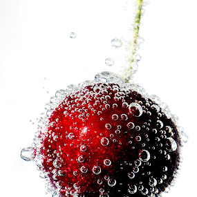 Bubbly Cherry by Emily James - Food & Drink Fruits & Vegetables ( cherry; lemonade; red; bubbles,  )