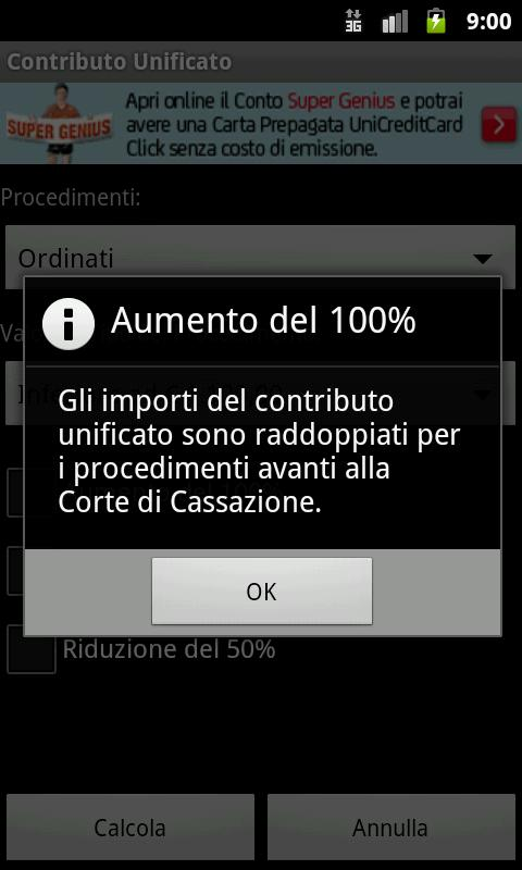 Calcolo Contributo Unificato - screenshot
