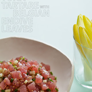 Tuna Tartare with Belgian Endive Leaves.