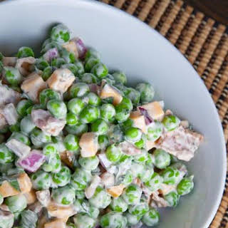 Fresh Pea Salad with Bacon and Cheddar.