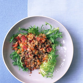 Lentil Salad with Bacon and Frisee.