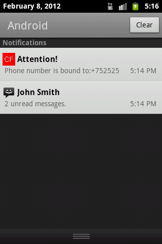 Call forwarding - screenshot