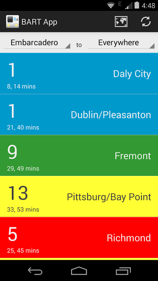 BART App- screenshot