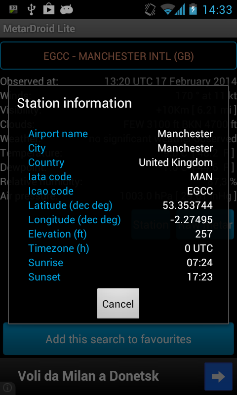 MetarDroid Lite (Metar -Taf ) - screenshot