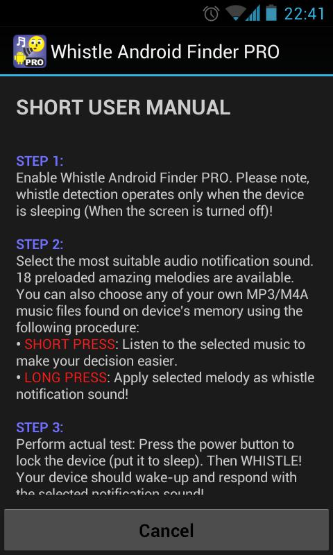 Whistle Android Finder PRO- screenshot