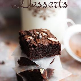 Avocado Brownies by Vrinda Mahesh - Typography Captioned Photos ( desserts, chocolates, avocado brownies, sweets, food, brownies )