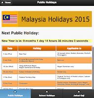 Screenshot of Malaysia Public Holiday 2015