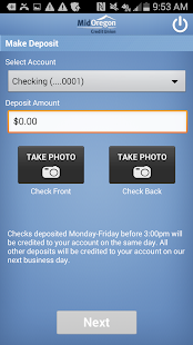 Mid Oregon CU Mobile Deposit- screenshot thumbnail