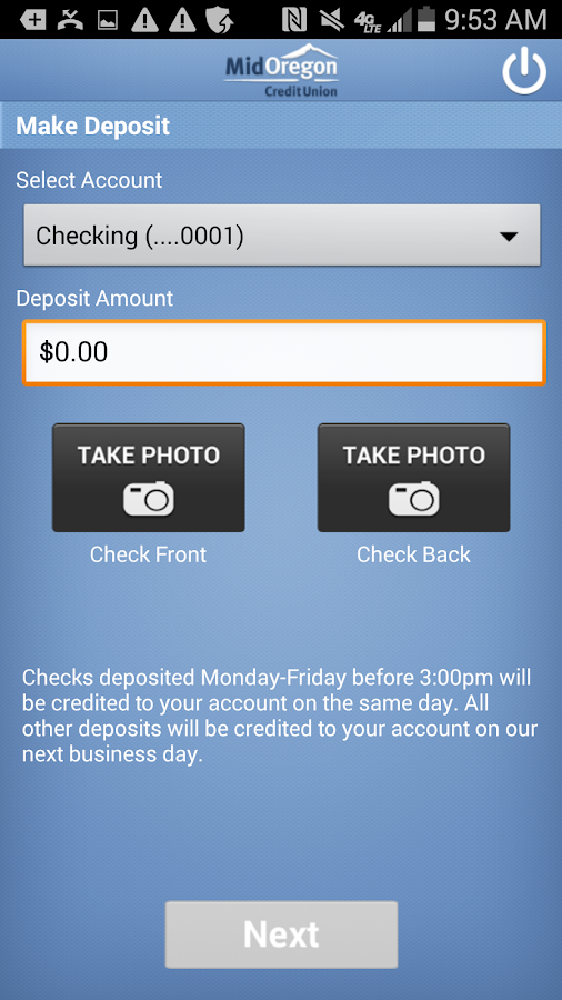 Mid Oregon CU Mobile Deposit- screenshot