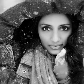 Winter Bliss  by Chad Weisser - People Portraits of Women ( model, b&w, black and white, vyjayanthi, portrait, eyes,  )