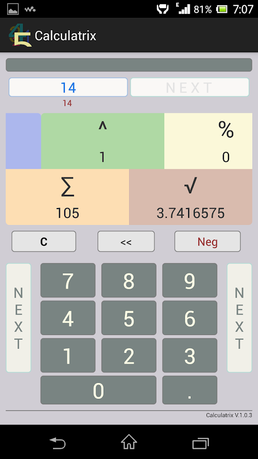 Calculatrix- screenshot