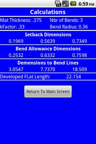 Bend Line Calculator- screenshot