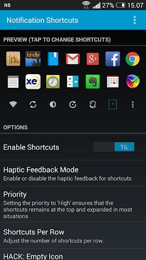 Notification Shortcuts