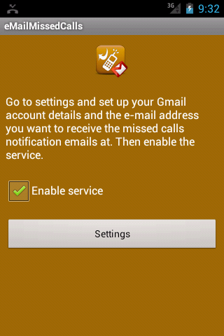 eMailMissedCalls - screenshot