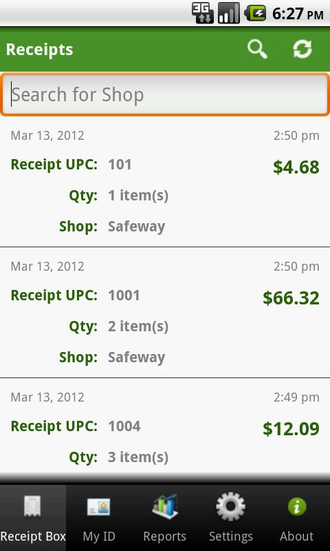 Receipt Box- screenshot