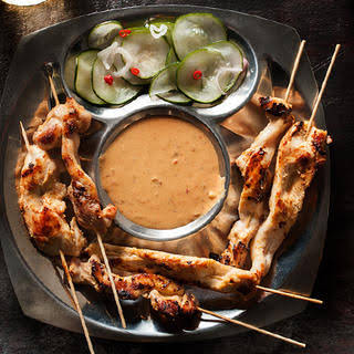 Chicken Satay with Spicy Peanut Sauce.