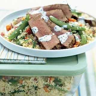 Fennel-Crusted Ahi Tuna with Lemon Aïoli Over Couscous.