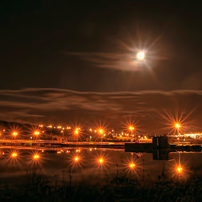 The Dam. by Konrad Ragnarsson - Digital Art Places ( lights, water, moon, konni27, dam, electricity, night, city )