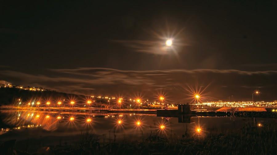 The Dam. by Konrad Ragnarsson - Digital Art Places ( lights, water, moon, konni27, dam, electricity, night, city )