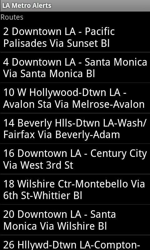 LA Metro Alerts- screenshot