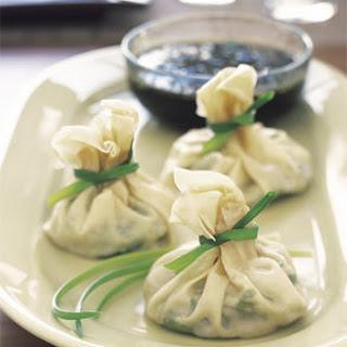 Jade Dumplings with Soy-Sesame Dipping Sauce.