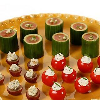 Gazpacho in Cucumber Cups