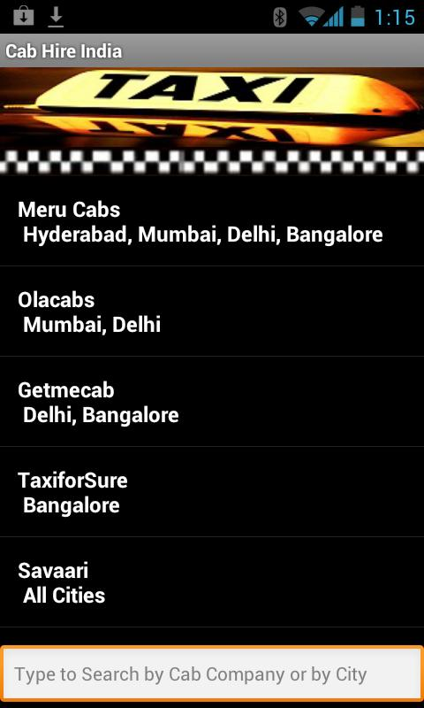Taxi Cab Hire India - screenshot