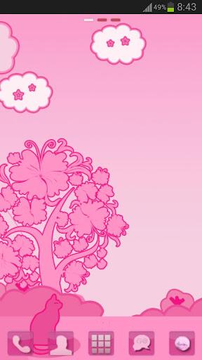 ランチャーEXのテーマピンクの猫をGO Launcher